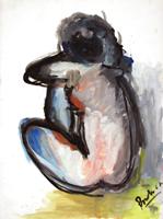 Quadro di Enzo Pregno - Seduta acquerello carta